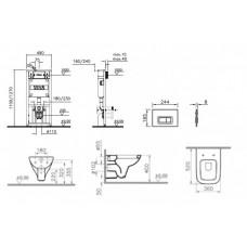 Комплект унитаз Vitra Form 300 инсталляция+кнопка гл.хром+микролифт 9812В003-7203