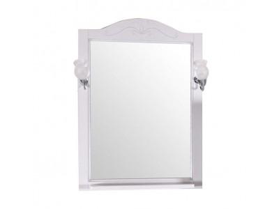 Зеркало ASB-Woodline Салерно 65 белый/патина серебро