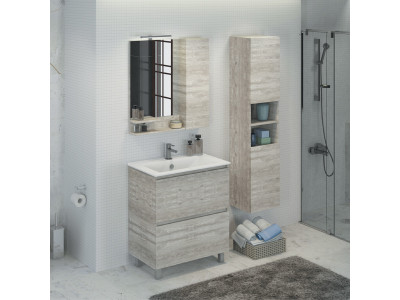 COMFORTY зеркало-шкаф Верона-75 дуб  белый