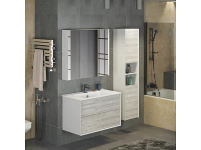 COMFORTY зеркало-шкаф Женева-90 дуб белый