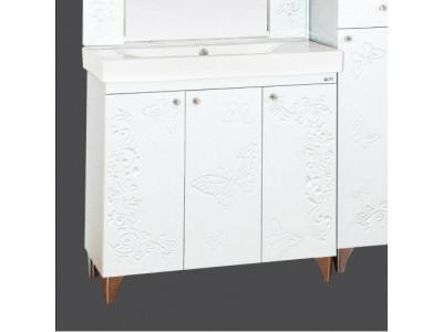 Мебель для ванной Misty Вирджиния (Бабочка) - 90 Тумба прямая белый факт. П-Вир01090-012Пр