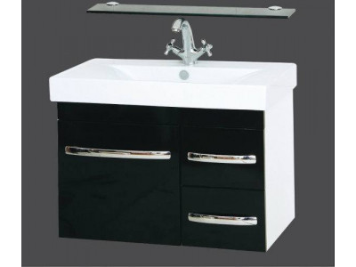 Мебель для ванной Misty Эмилия -75 Тумба подвесная черная направ. с доводчиком П-Эми01075-021ПоД