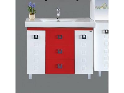 Мебель для ванной Misty Эллада - 100 Тумба с 3 ящ. комб. бело/красн. П-Элл01100-2613Я