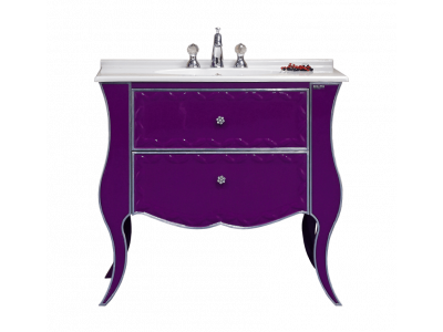 Мебель для ванной Misty Анжелика - 100 Тумба сиреневая сусальное серебро с 2 ящ./столешница Л-Анж01100-4112Я