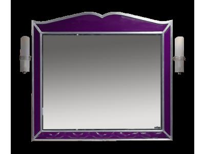 Мебель для ванной Misty Анжелика - 100 Зеркало сиреневое  сусальное серебро со светильниками Л-Анж02100-411Св