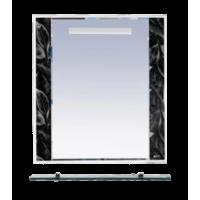 Зеркало Misty Боливия- 75 Зеркало белое с полочкой (черная ночь) Л-Бол03075-235