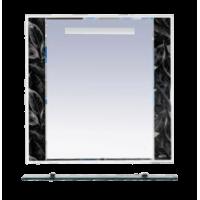 Зеркало Misty Боливия- 90 Зеркало белое с полочкой (черная ночь) Л-Бол03090-235