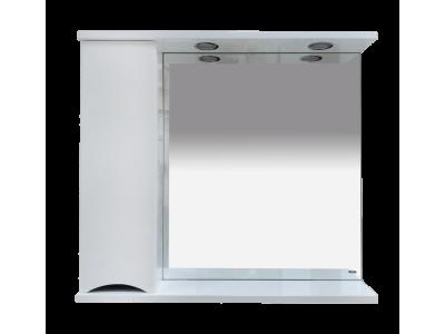 Мебель для ванной Misty Элвис - 85 Зеркало-шкаф лев. (свет)  белая эмаль П-Элв-01085-011Л