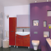 Мебель для ванной Misty Джулия - 75 Зеркало с полочкой 12 КРАКОЛЕТ красный Л-Джу03075-0413
