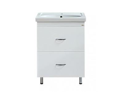 Мебель для ванной Misty Калипсо 60 Тумба с 2-мя ящиками белая Э-Кап01060-012Я
