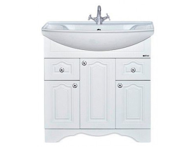 Мебель для ванной Misty Валерия - 85 Тумба с 2 ящ. белая фактур. П-Влр01085-372Я