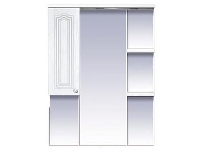 Мебель для ванной Misty Валерия - 75 зеркало - шкаф белое фактур. левое со светом П-Влр02075-37СвЛ