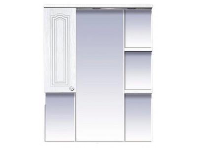 Мебель для ванной Misty Валерия - 85 зеркало - шкаф белое фактур. левое со светом П-Влр02085-37СвЛ