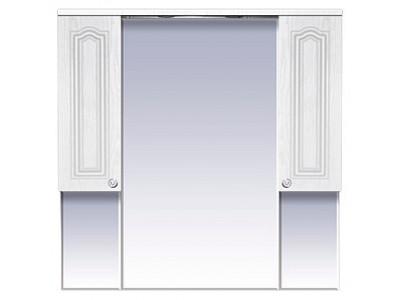 Мебель для ванной Misty Валерия -105 зеркало-шкаф  белое фактур. со светом П-Влр04105-37Св