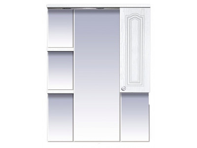 Мебель для ванной Misty Валерия - 75 зеркало - шкаф белое фактур. правое со светом П-Влр02075-37СвП