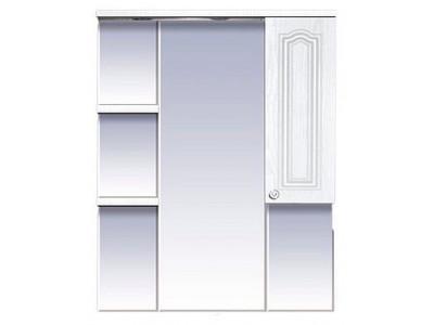 Мебель для ванной Misty Валерия - 85 зеркало - шкаф белое фактур. правое со светом П-Влр02085-37СвП