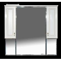 Зеркальный шкаф Misty Париж 105 зеркало белый патина П-Пар04105-013