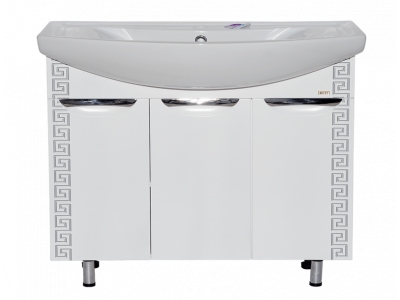 Мебель для ванной Misty Престиж- 105 Тумба прямая белая серебряная патина Э-Прсж01105-014ПрСбп