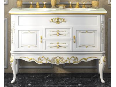 Мебель для ванной Misty Bianco 120 с 2-мя ящиками белая сусальное золото Л-Бья01120-3912Я