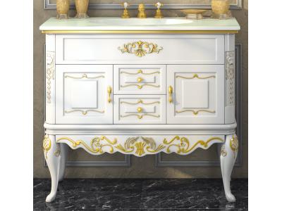 Мебель для ванной Misty Bianco 90 с 2-мя ящиками белая сусальное золото Л-Бья01090-3912Я