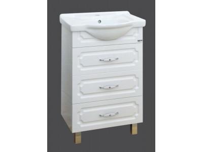 Мебель для ванной Misty Александра - 55 Тумба 3 ящ. бел.мет. П-Але01055-3523Я