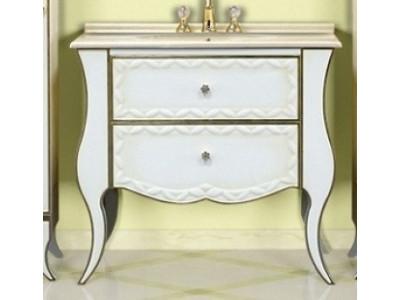 Мебель для ванной Misty Анжелика - 80 Тумба бежевая сусальное золото с 2 ящ./столешница Л-Анж01080-3812Я