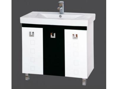Мебель для ванной Misty Эллада  - 90 Тумба комб. черная эмаль П-Элл01090-231