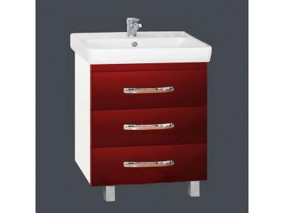 Мебель для ванной Misty Эмилия -60 Тумба напольная с 3 ящ красная П-Эми01060-0413Я