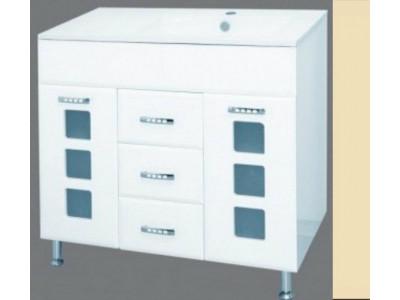 Мебель для ванной Misty Квадро - 90 Тумба + раковина правая БЕЖ П-Ква01090-031П