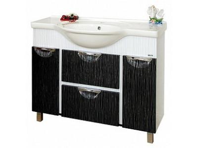 Мебель для ванной Misty Лорд -105 Тумба (комб.  бело-черная пленка) П-Лрд01105-232