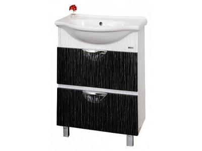 Мебель для ванной Misty Лорд 55 белая/черная с 2-мя ящиками П-Лрд01055-2322Я