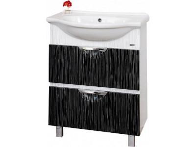 Мебель для ванной Misty Лорд - 65 Тумба 2 ящ (комб.  бело-черная пленка) П-Лрд01065-2322Я