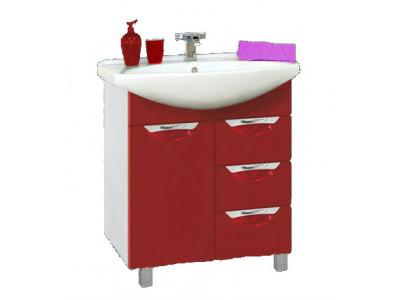 Мебель для ванной Misty Орхидея - 65 Тумба с 3 ящ. красная эмаль П-Орх01065-0413Я