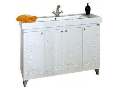Мебель для ванной Misty Вирджиния (Бабочка) -120 Тумба прямая бел.фактурн. П-Вир01120-012Пр