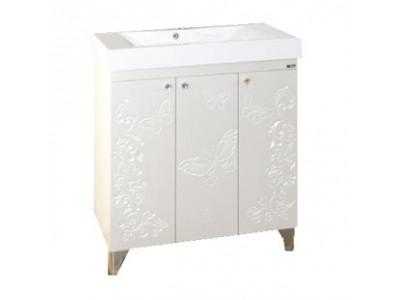 Мебель для ванной Misty Вирджиния (Бабочка) - 75 Тумба прямая белый факт. П-Вир01075-012Пр