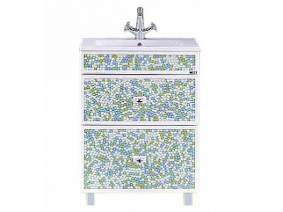 Мебель для ванной Misty Жемчужина 60 белая/голубая П-Жем01060-3282Я