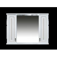 Зеркальный шкаф Misty Вояж -100 Зеркало-шкаф свет белая патина П-Воя04100-013Св