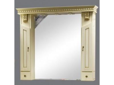 Мебель для ванной Misty Афина -120 Зеркало-шкаф бежевое патина Л-Афи04120-033