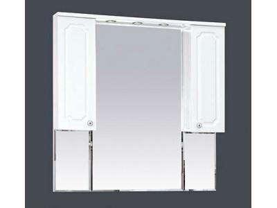 Мебель для ванной Misty Александра -105 зеркало-шкаф (свет) белый мет П-Але04105-352Св