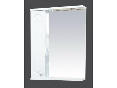 Мебель для ванной Misty Александра - 55 зерк-шкаф лев.(свет) белый мет П-Але04055-352СвЛ