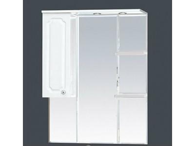 Мебель для ванной Misty Александра - 85 зеркало-шкаф лев.(свет) белый мет П-Але04085-352СвЛ