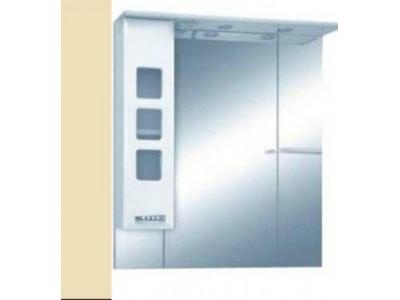 Мебель для ванной Misty Квадро - 75 Зеркало - шкаф лев. (свет) бежевая эмаль бежевый П-Ква02075-031СвЛ