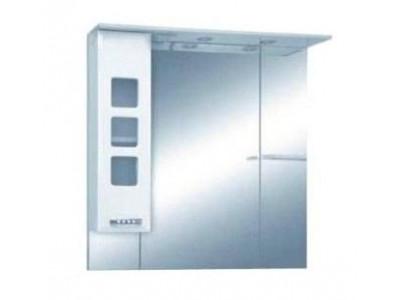 Мебель для ванной Misty Квадро - 90 Зеркало - шкаф лев. (свет) белая эмаль П-Ква02090-011СвЛ