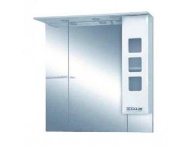 Мебель для ванной Misty Квадро - 90 Зеркало - шкаф прав. (свет) белая эмаль П-Ква02090-011СвП