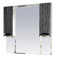 Misty Лорд -105 зеркало-шкаф (свет) (комб.бело-черн) П-Лрд04105-232Св