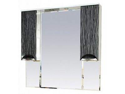 Мебель для ванной Misty Лорд -105 зеркало-шкаф (свет) (комб.бело-черн) П-Лрд04105-232Св