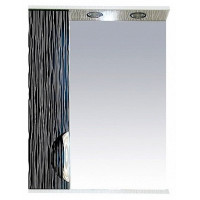 Misty Лорд - 55 зеркало-шкаф (свет) лев.(комб.бело-черн) П-Лрд04055-232СвЛ