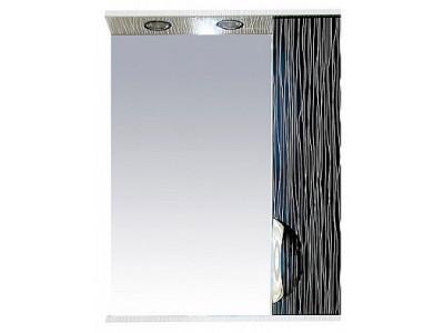 Мебель для ванной Misty Лорд - 55 зеркало-шкаф (свет) прав.(комб.бело-черн П-Лрд04055-232СвП