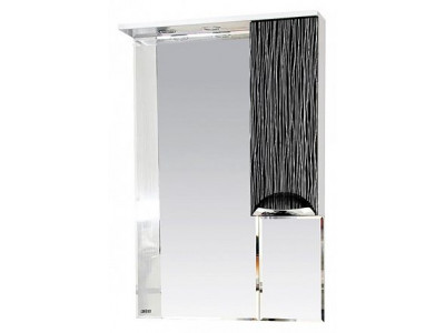 Мебель для ванной Misty Лорд - 65 зеркало-шкаф (свет) прав.(комб.бело-черн) П-Лрд04065-232СвП