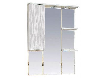 Мебель для ванной Misty Лорд - 75 зеркало-шкаф (свет) лев.(белая пленка)П-Лрд04075-012СвЛ